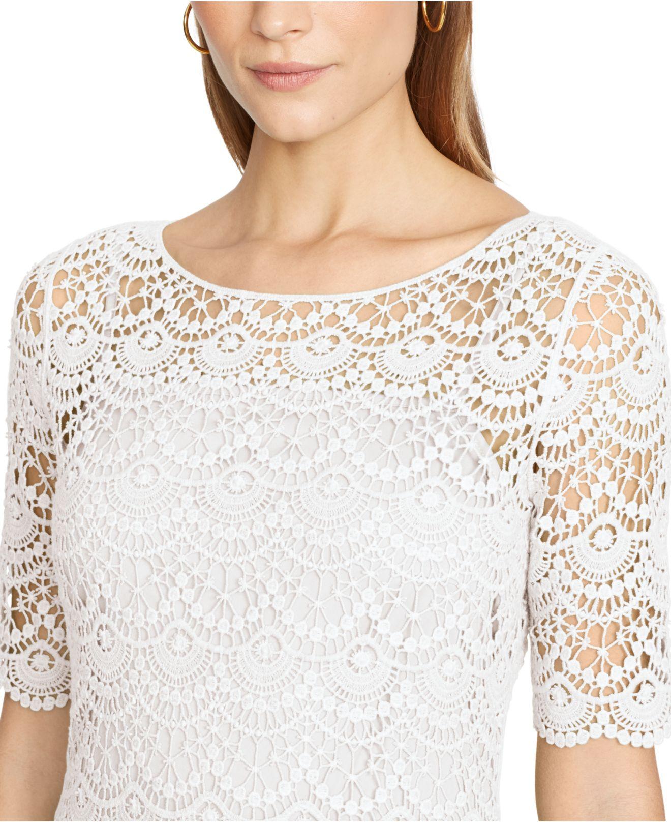 Lauren ralph lauren lace bateau-neck dress