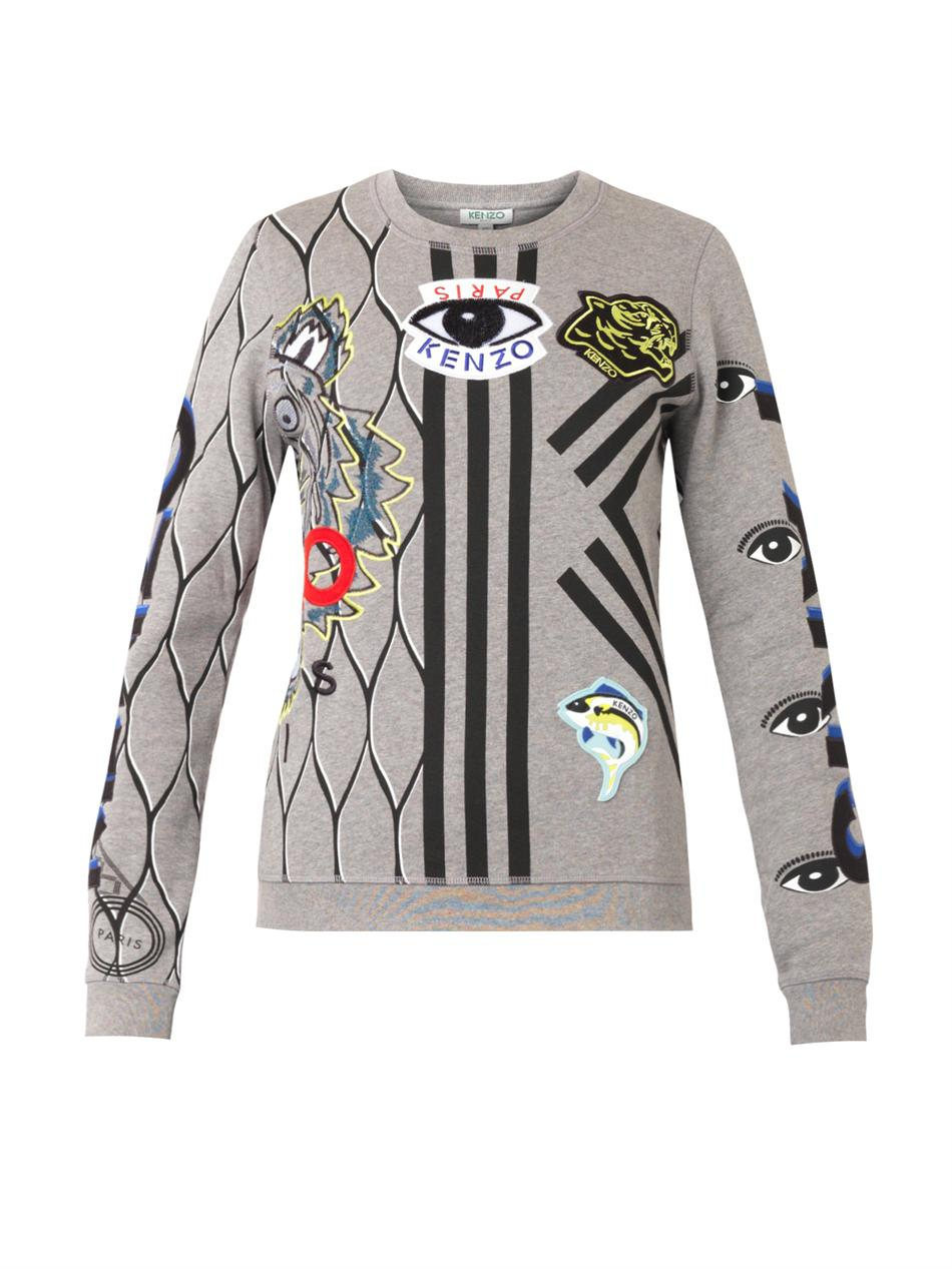 kenzo multi logo sweatshirt in gray