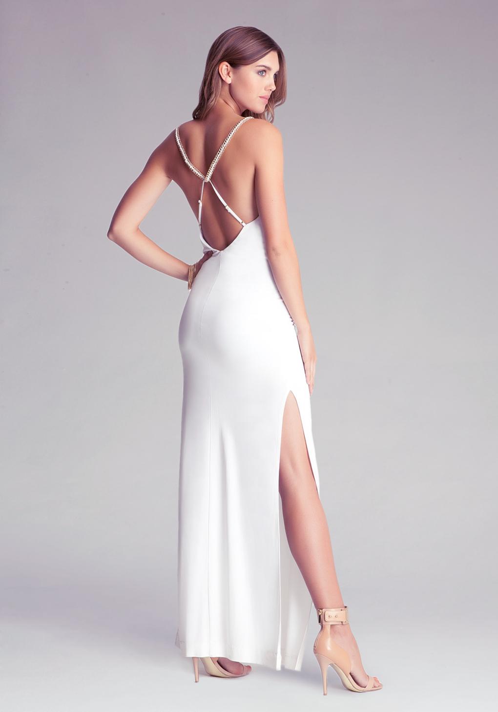 5905563099 Bebe Long Cowl Neck Dress in White - Lyst