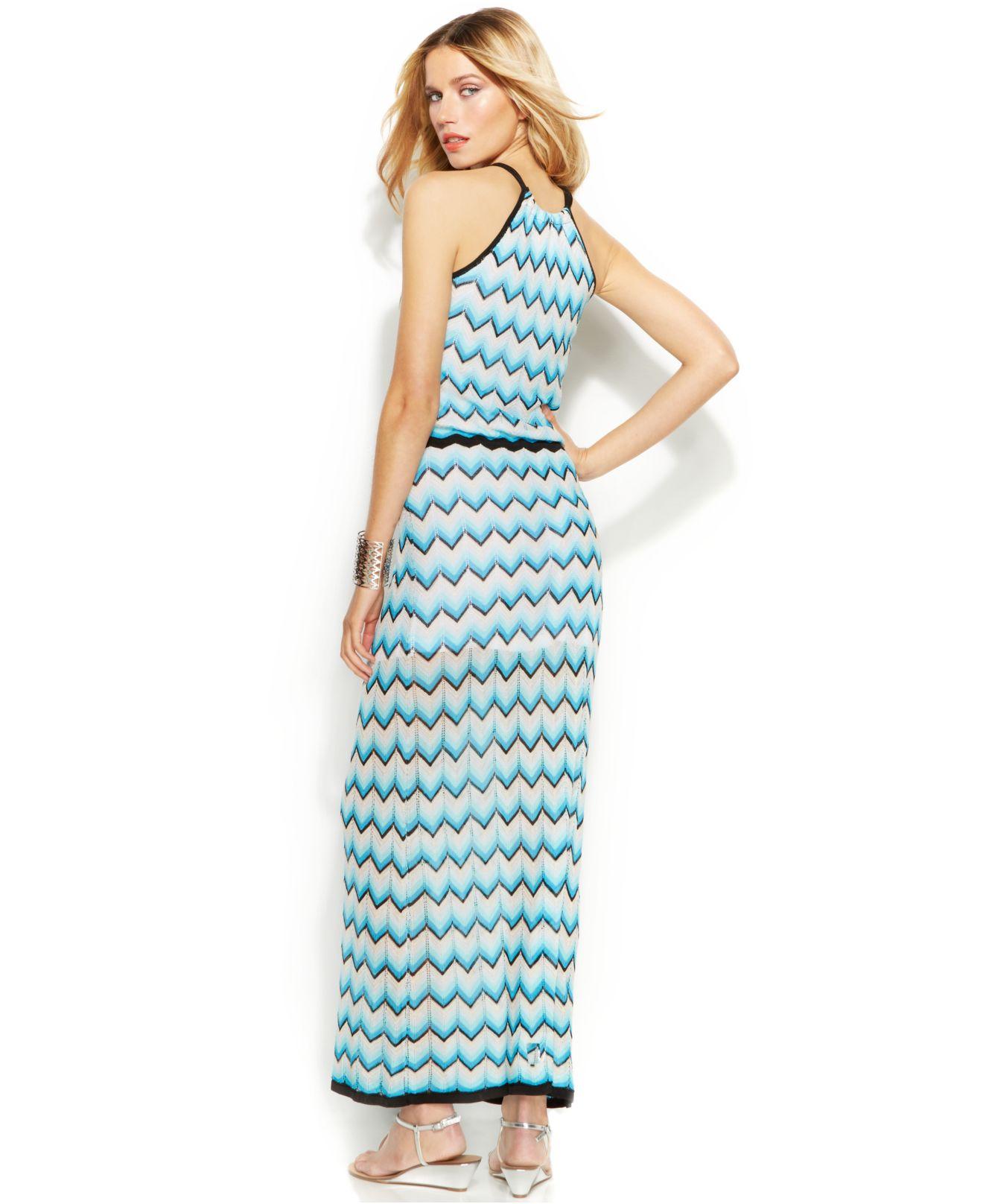 Lyst - Inc International Concepts Chevron-Knit Halter Maxi Dress in Blue
