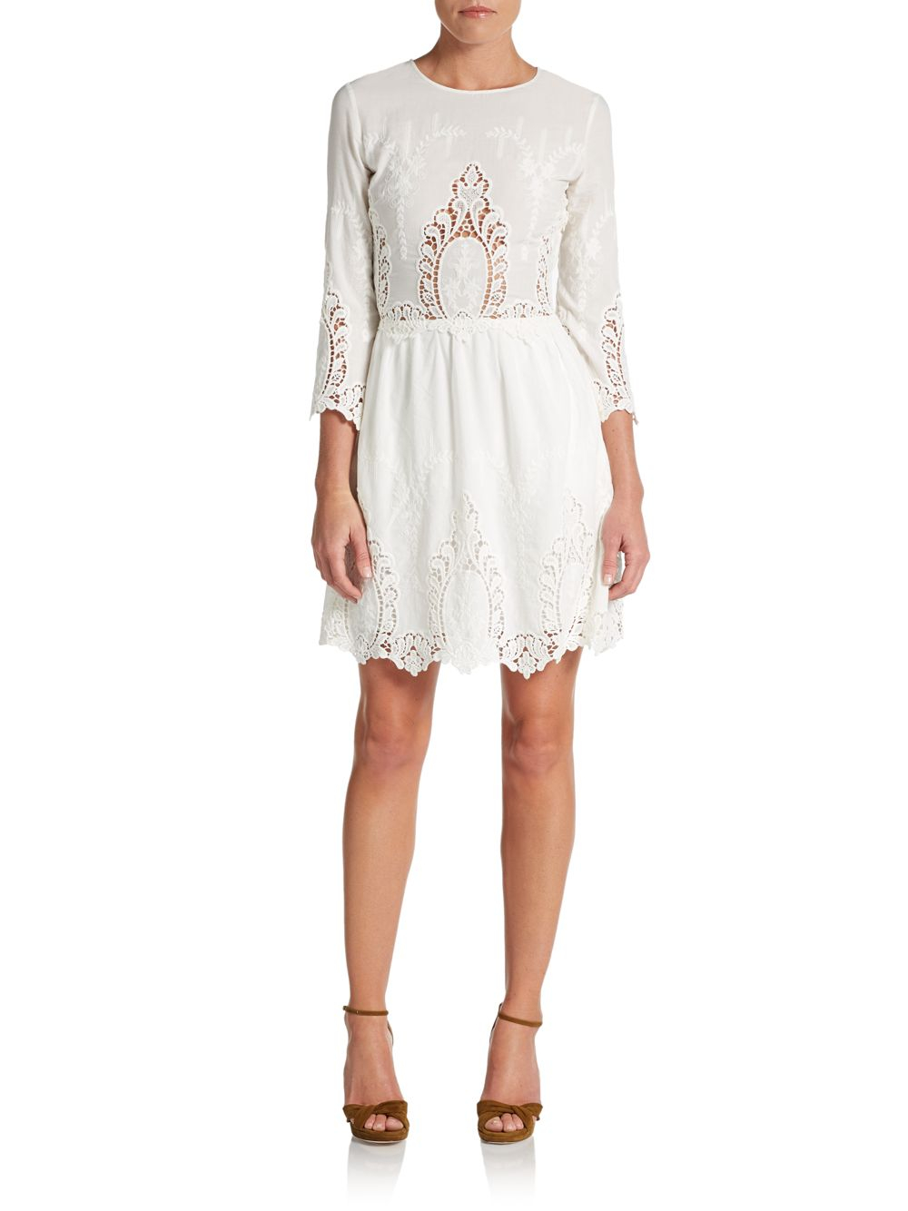 Dolce vita valentina embroidered lace dress in white