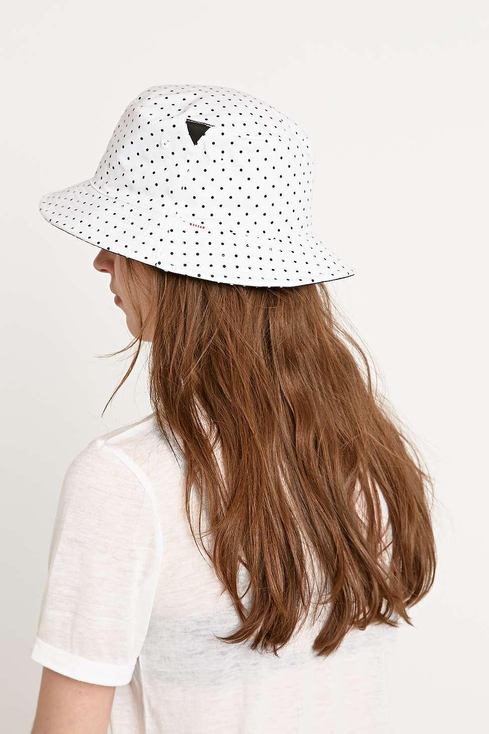 d4e2ed21683 ... 50% off herschel supply co. polka dot lake bucket hat in white in white