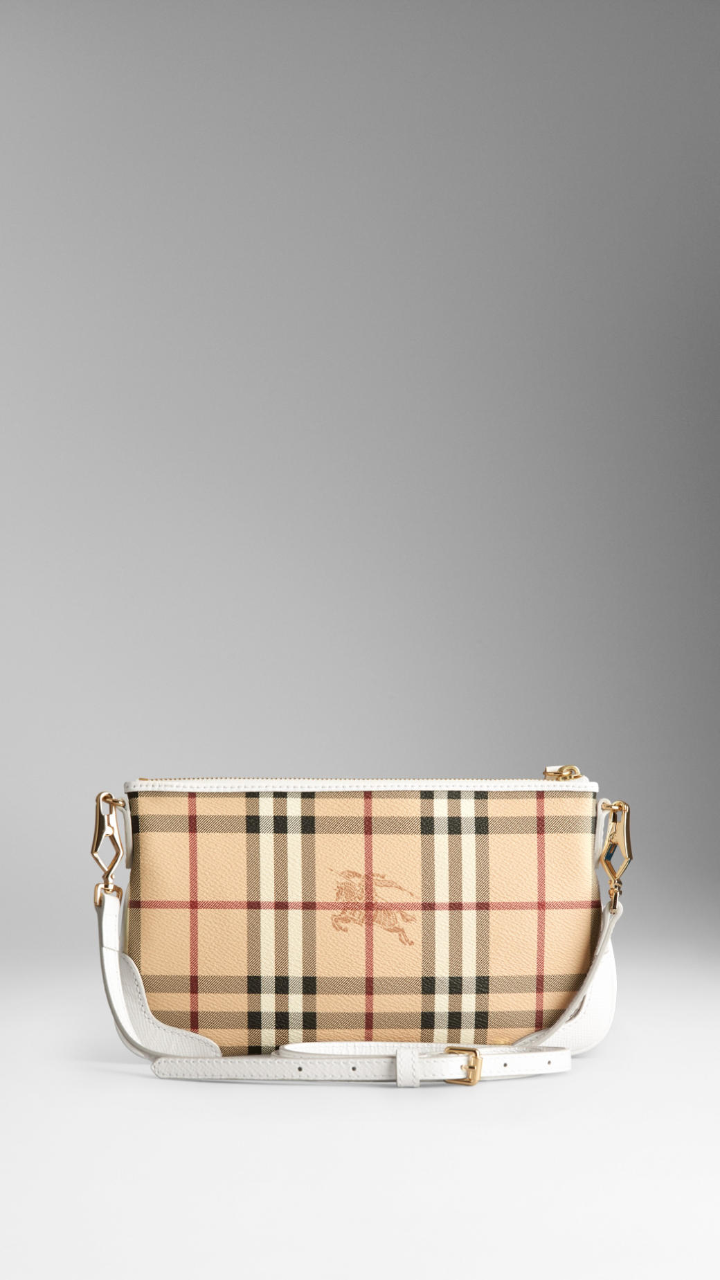 7efe89a9fd78 Lyst - Burberry Haymarket Check Clutch Bag in White