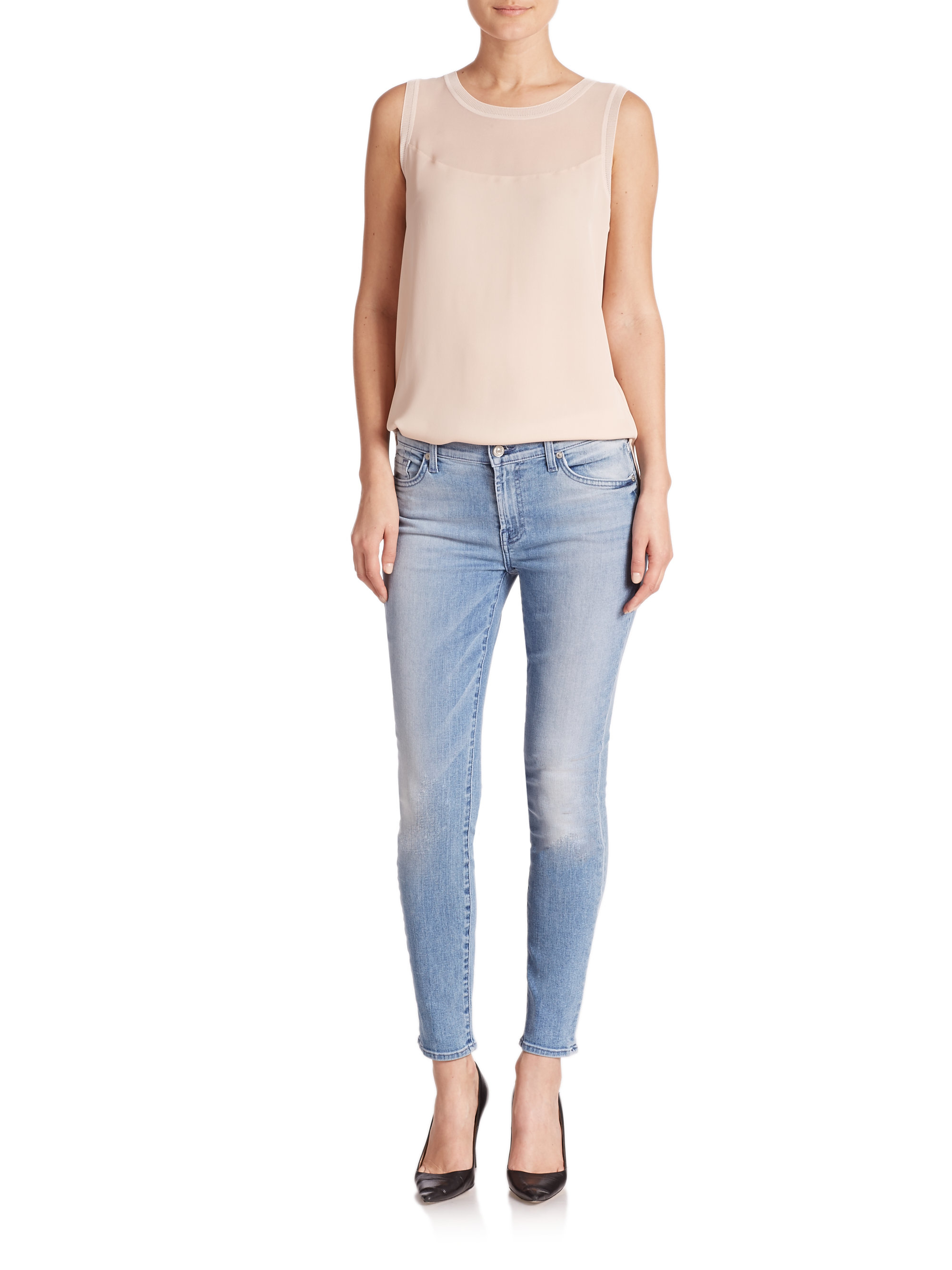 7 for all mankind Ankle Skinny Jeans in Blue   Lyst