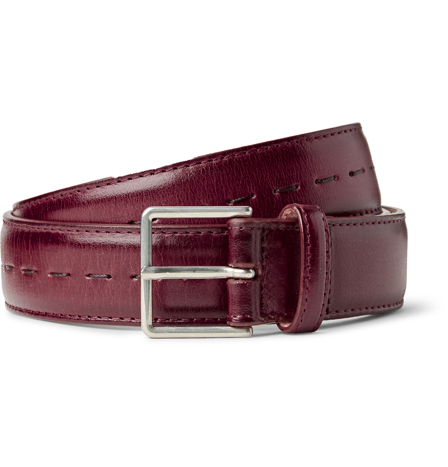 paul smith 3cm burgundy leather belt in pink for lyst