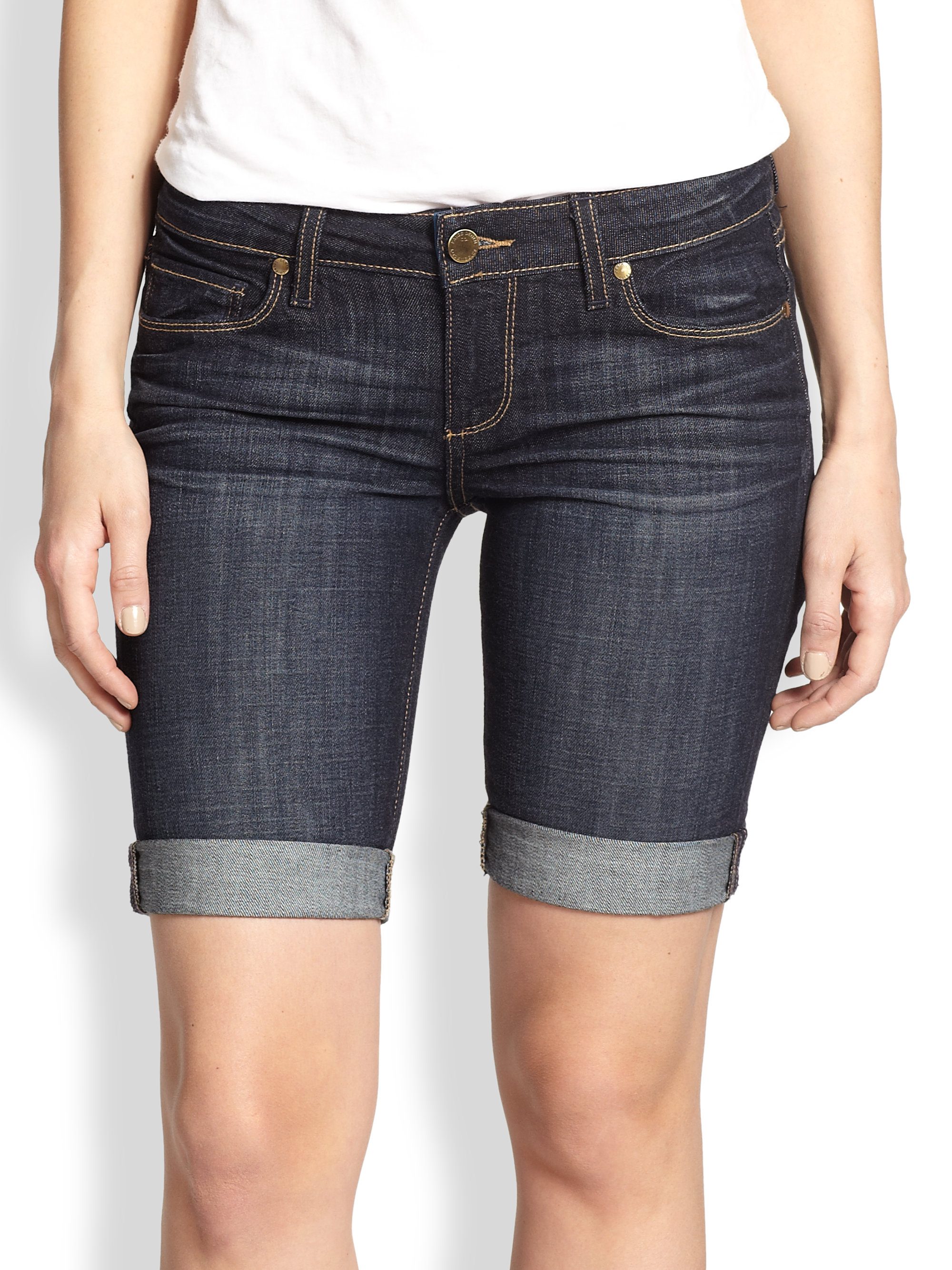 Paige Jax Stretch Denim Shorts in Blue | Lyst