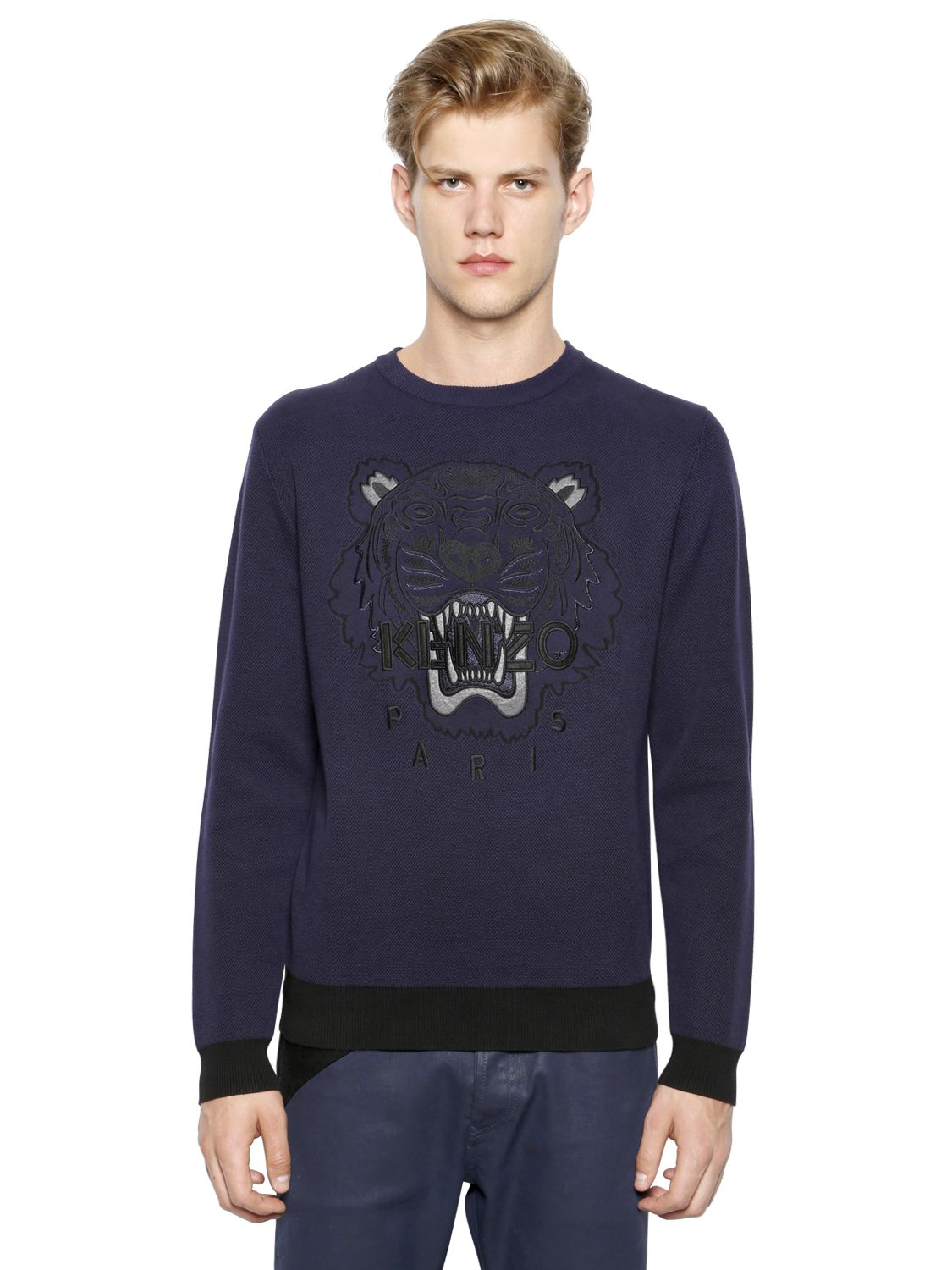 kenzo tiger embroidered cotton sweater in blue lyst. Black Bedroom Furniture Sets. Home Design Ideas