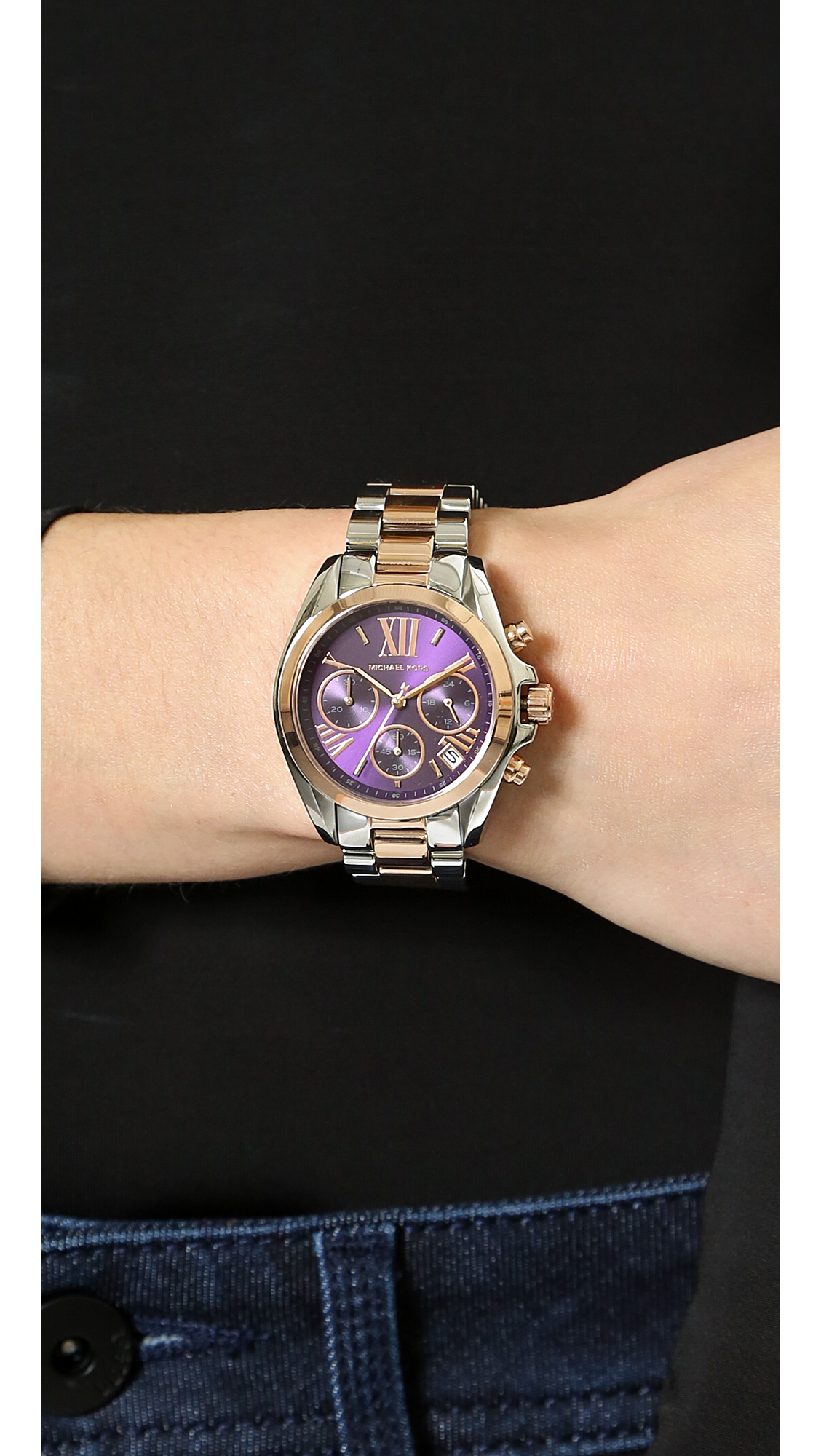 d8b527669ba1 Lyst - Michael Kors Mini Bradshaw Watch - Silverroseamethyst in Metallic