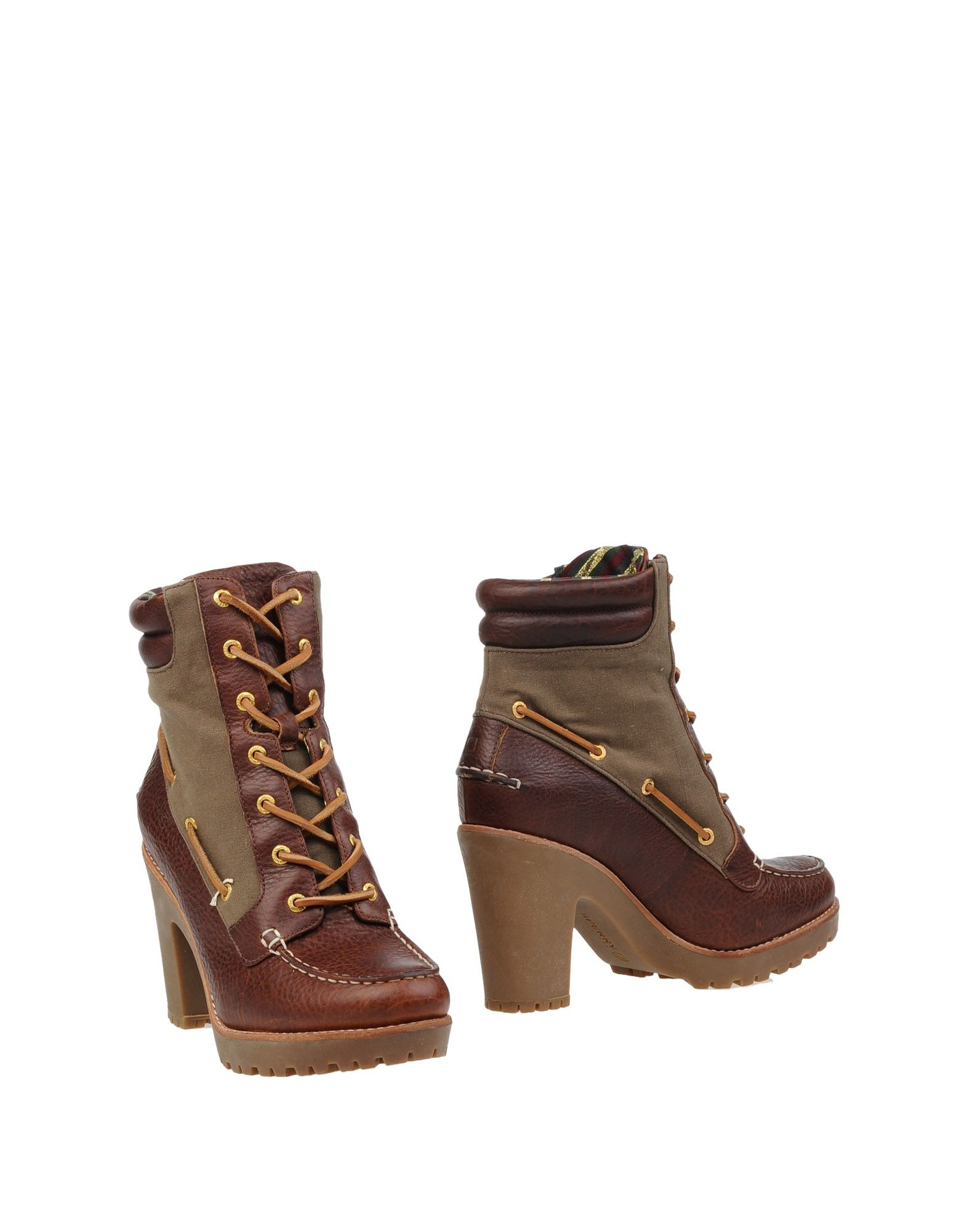 sperry top sider ankle boots in brown lyst