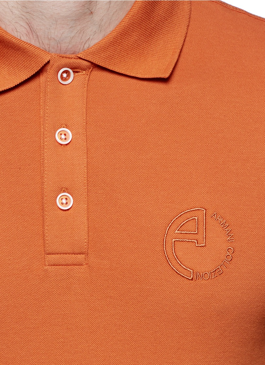 Armani For Men In Lyst Orange Shirt Polo Logo Embroidered rxwaYq4rp