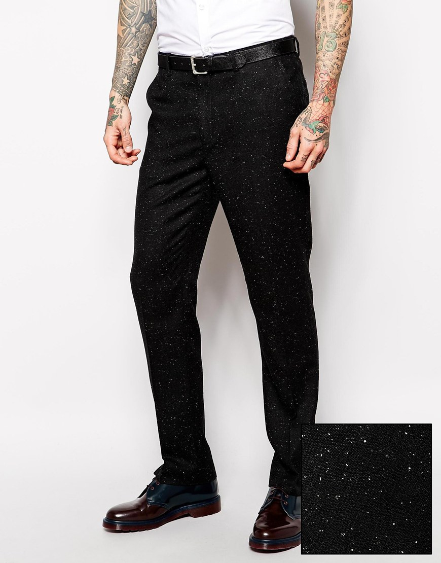 Asos Slim Fit Suit Pants In Fleck in Black for Men | Lyst