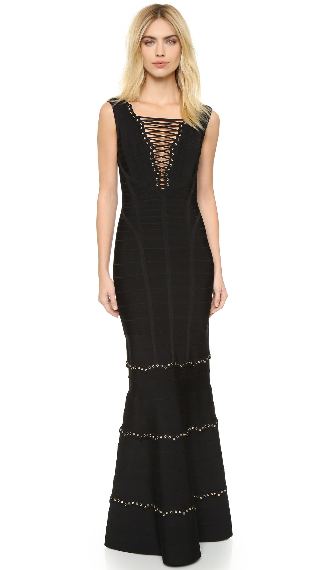 Hervé Léger Sleeveless Gown With Lace Up Detail in Black - Lyst