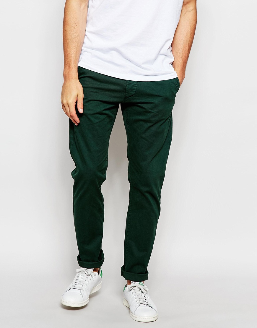Lyst Jack Amp Jones Slim Fit Stretch Chinos In Green For Men