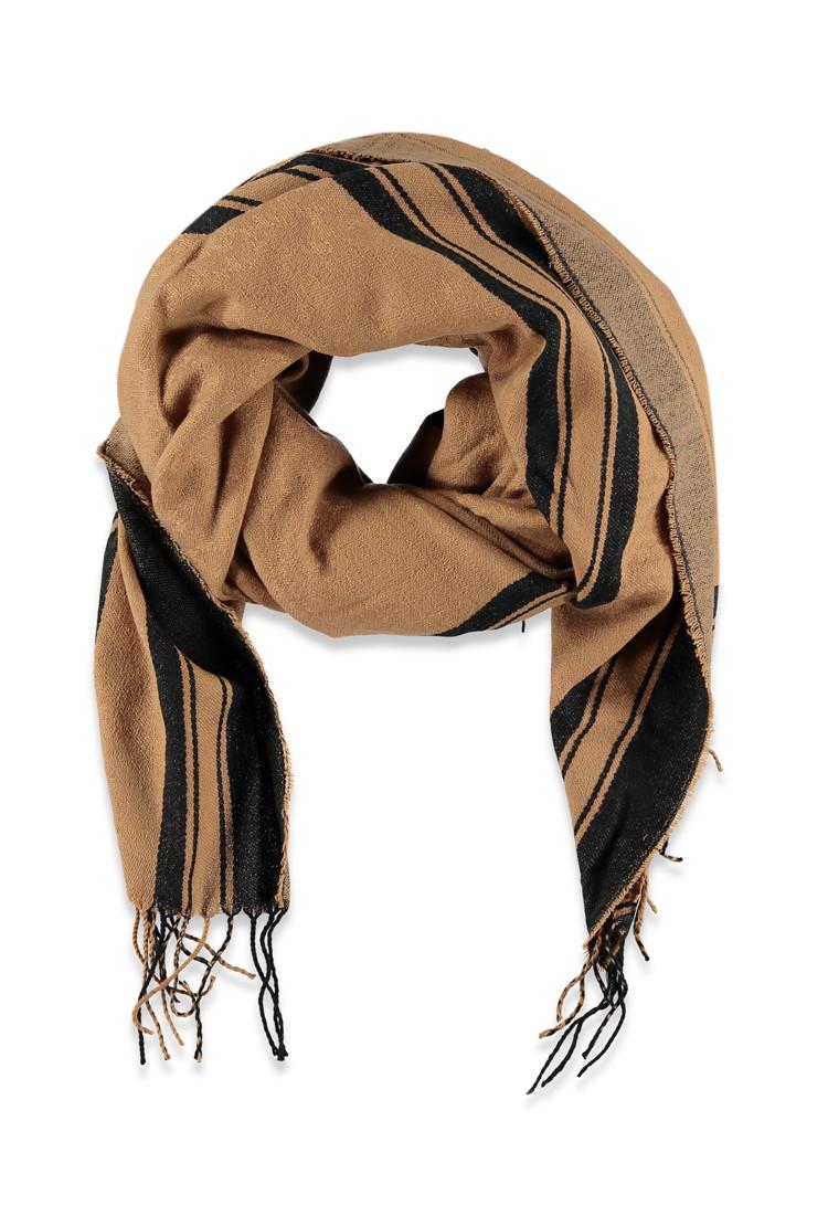 forever 21 stripe hem scarf in black lyst