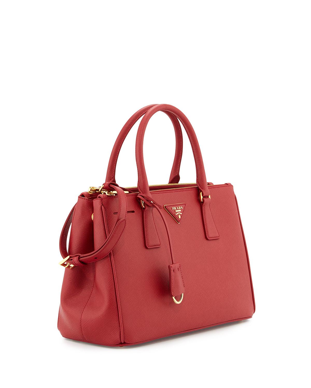 Prada Saffiano Small Double-handle Tote Bag in Red | Lyst