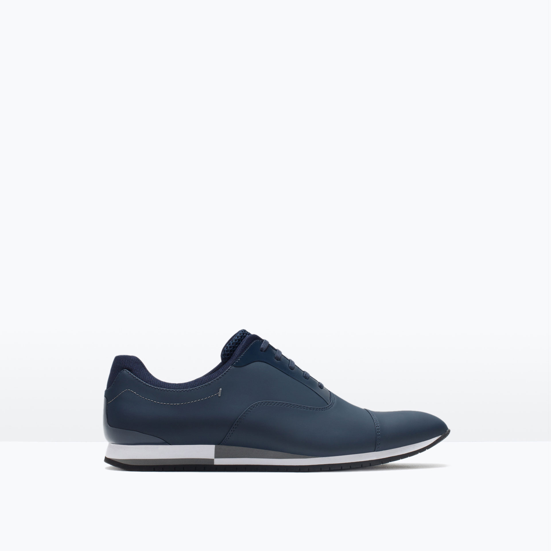 zara casual contrast lace up shoes in blue for lyst
