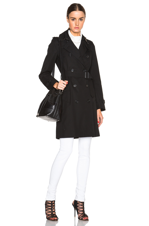 c7dd00e303d6 Lyst - Burberry Kensington Long Trench Coat in Black
