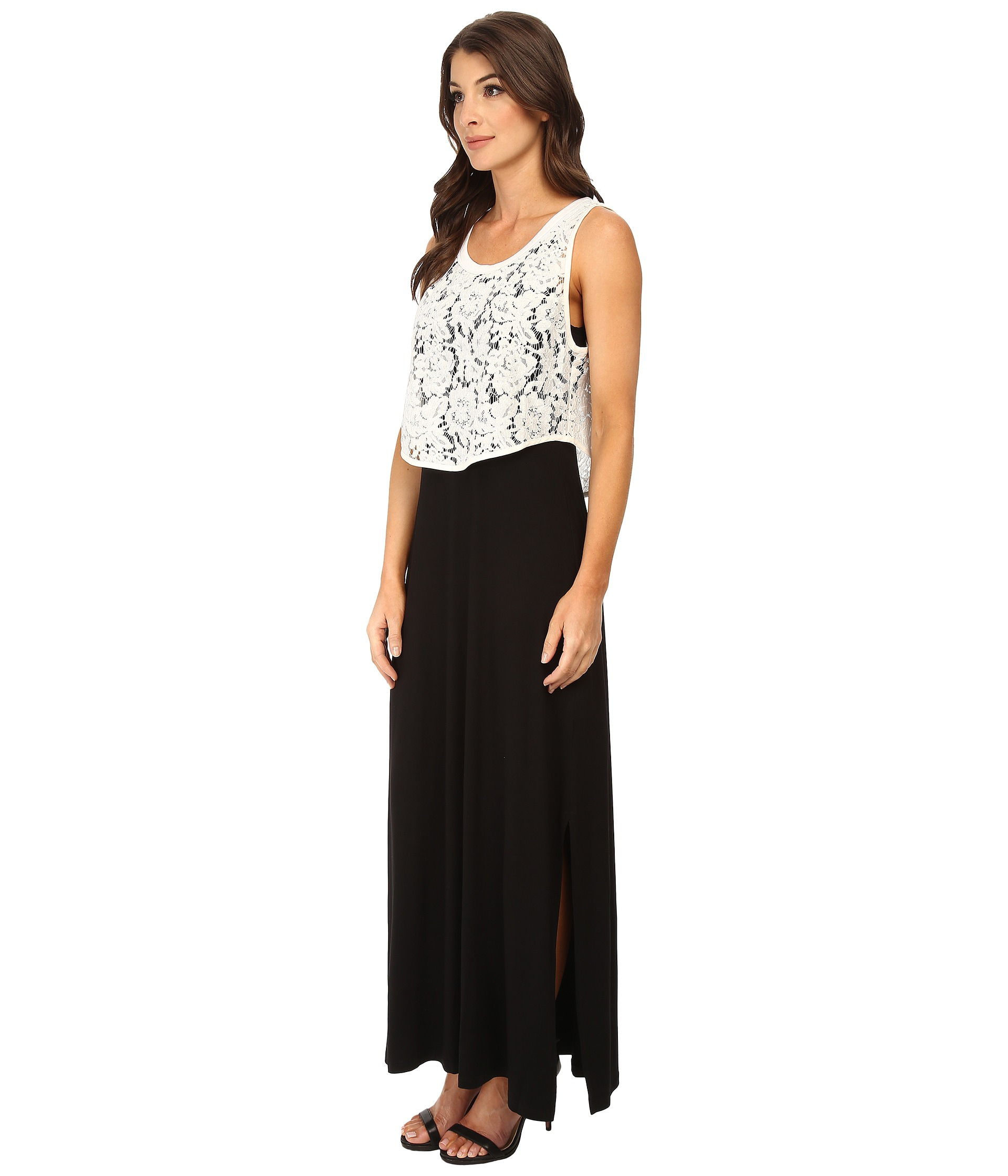 Karen kane Lace Top Maxi Dress in Black | Lyst