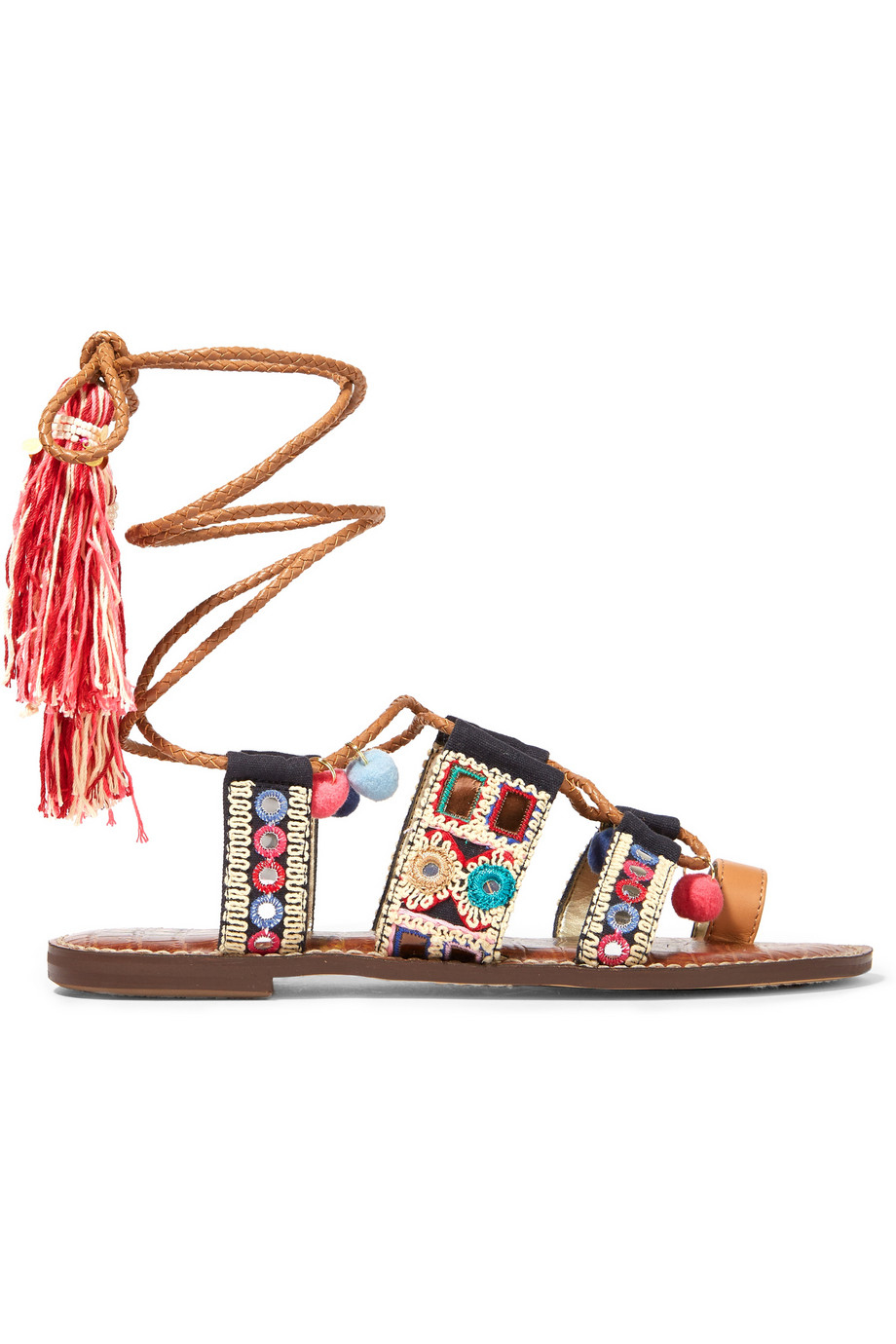 0dff6b7a150 Sam Edelman Gretchen Embroidered Canvas And Leather Sandals in Brown ...