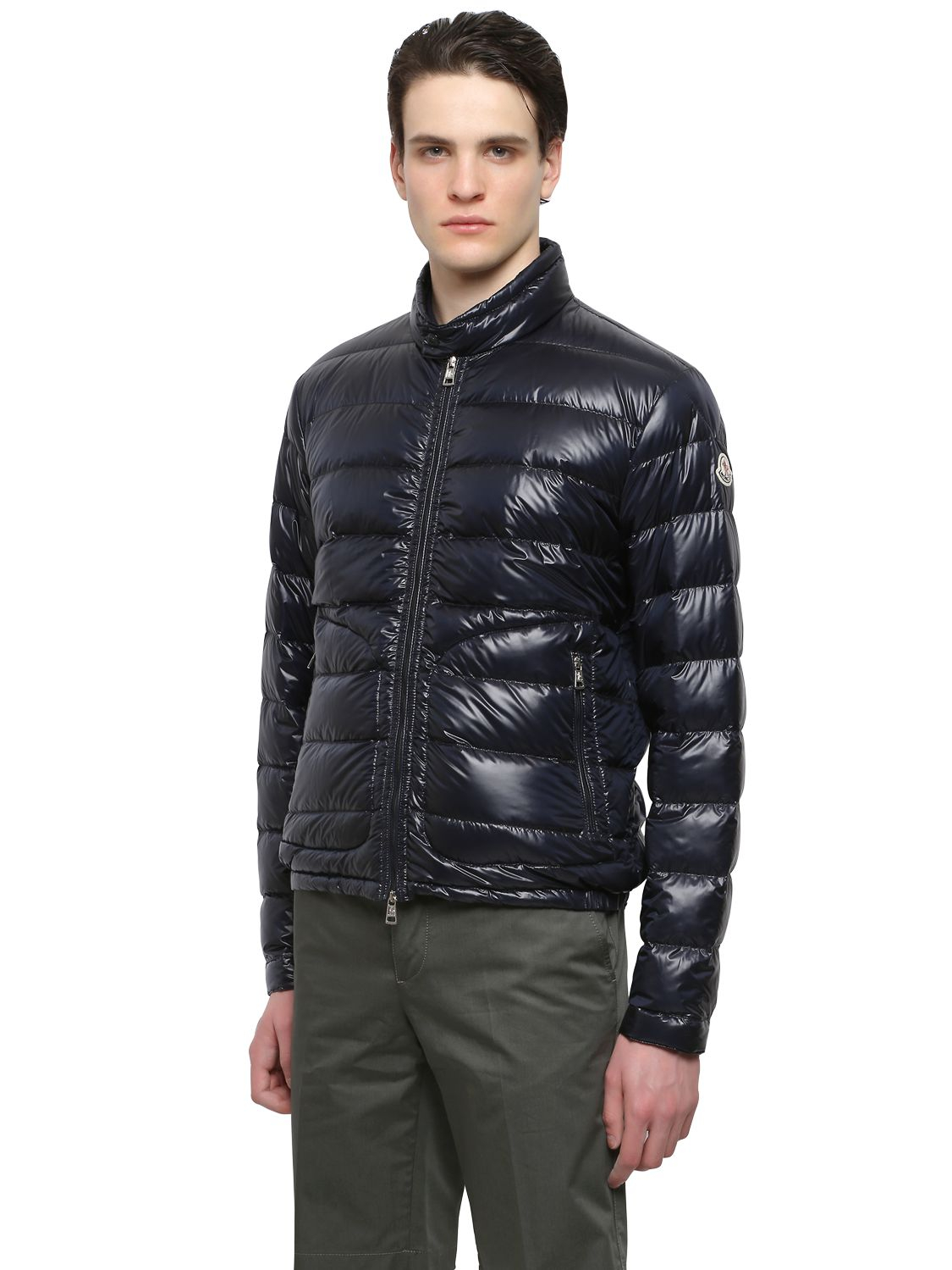 Moncler Acorus Lightweight Nylon Down Jacket In Blue For