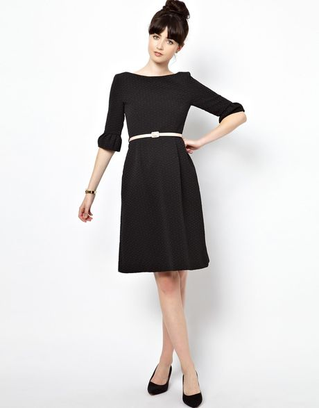 Orla Kiely Flared Sleeve Dress In Textured Jacquard Fabric