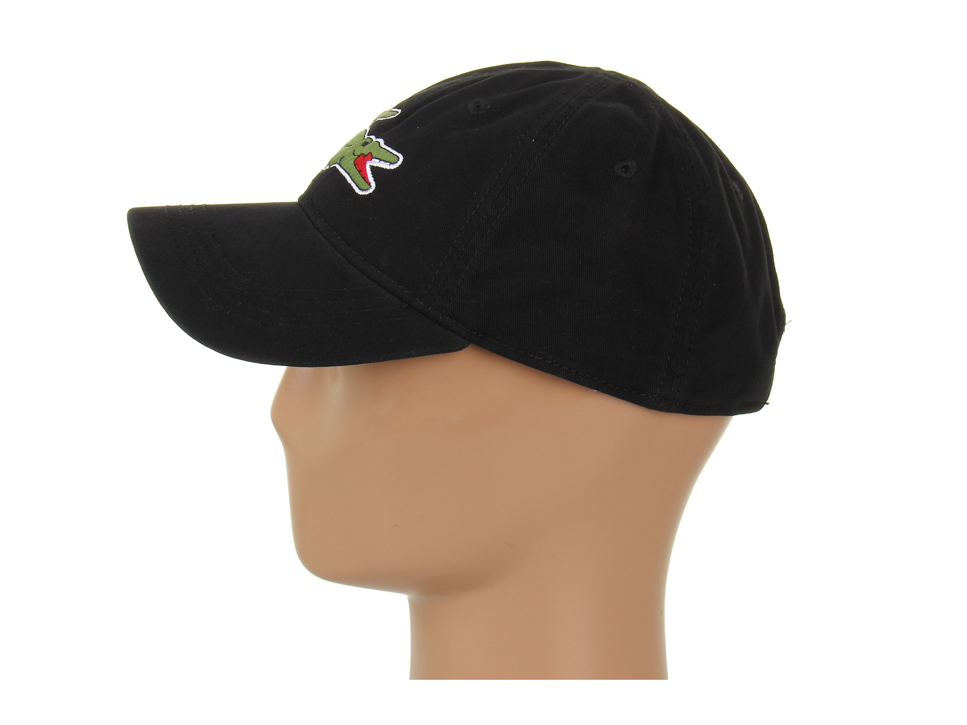 Lyst - Lacoste Large Croc Gabardine Cap in Black for Men bde0c245876