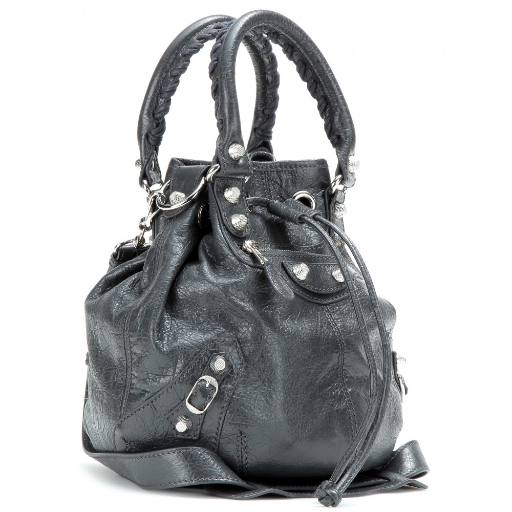 4422f21678 Lyst - Balenciaga Giant Mini Pompon Leather Shoulder Bag in Gray