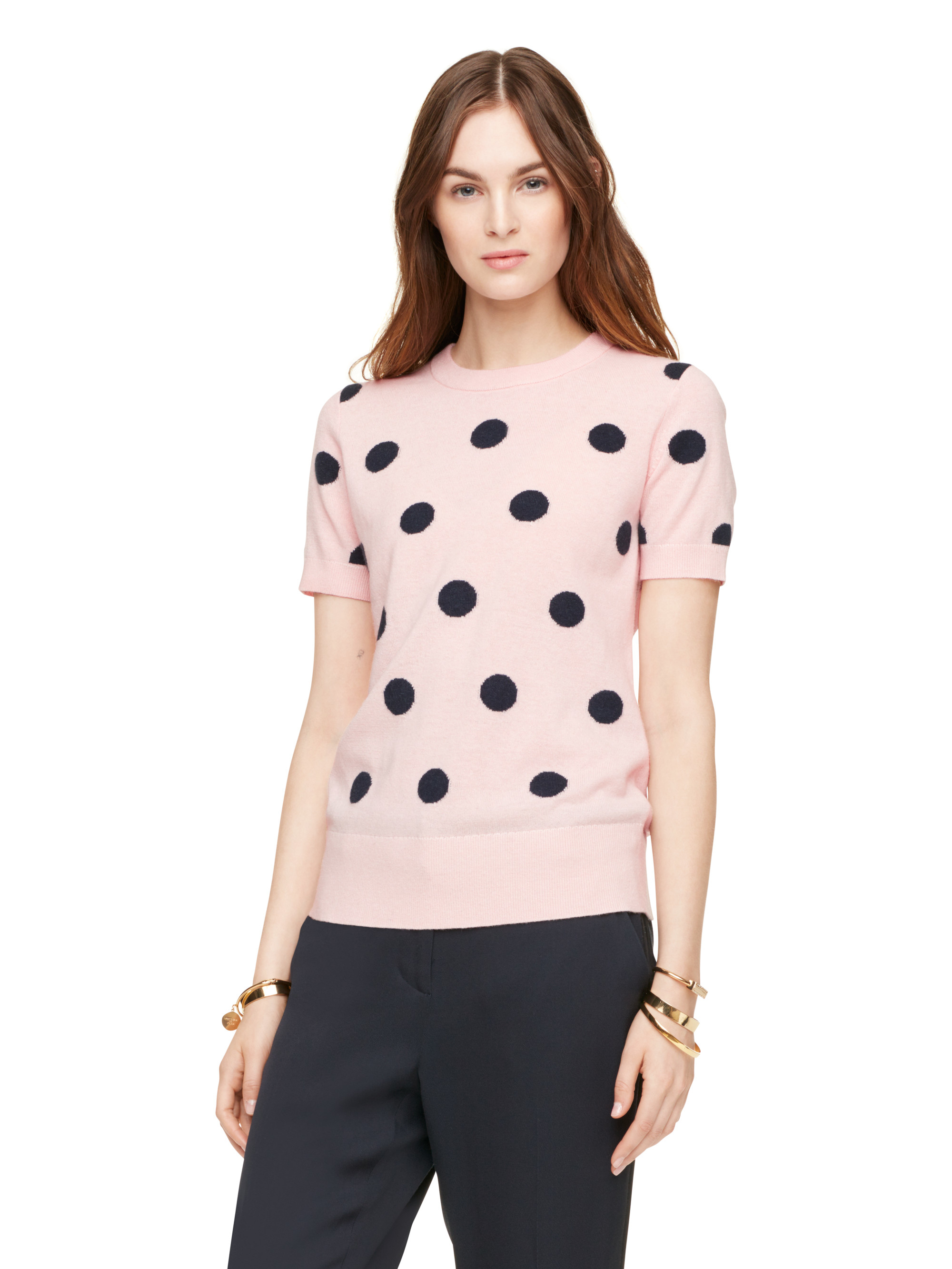 kate spade new york intarsia dot sweater in pink