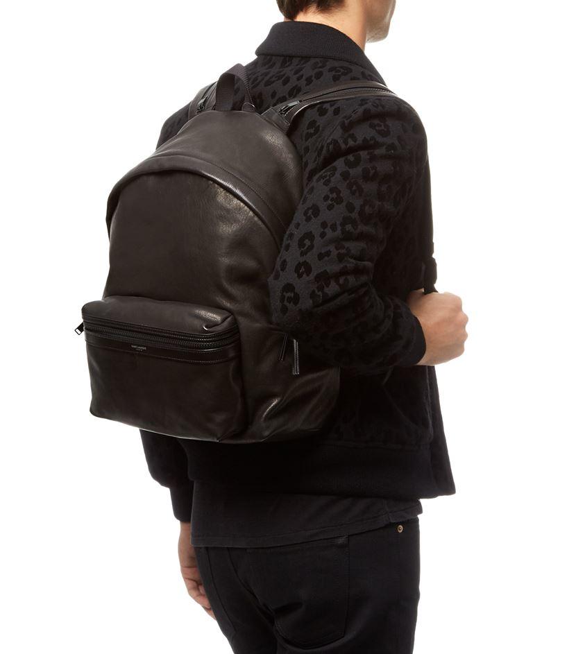 d0850d3c6990 Saint laurent Zip Strap Leather Backpack in Black for Men
