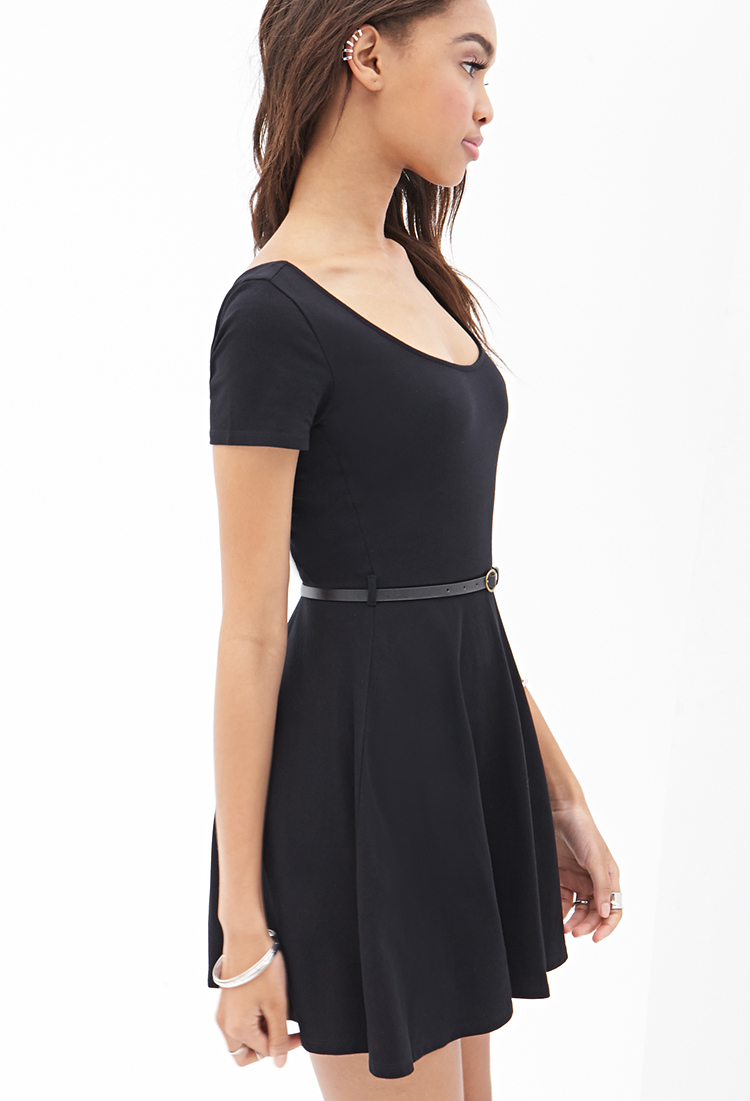 Forever 21 Belted Skater Dress in Black | Lyst