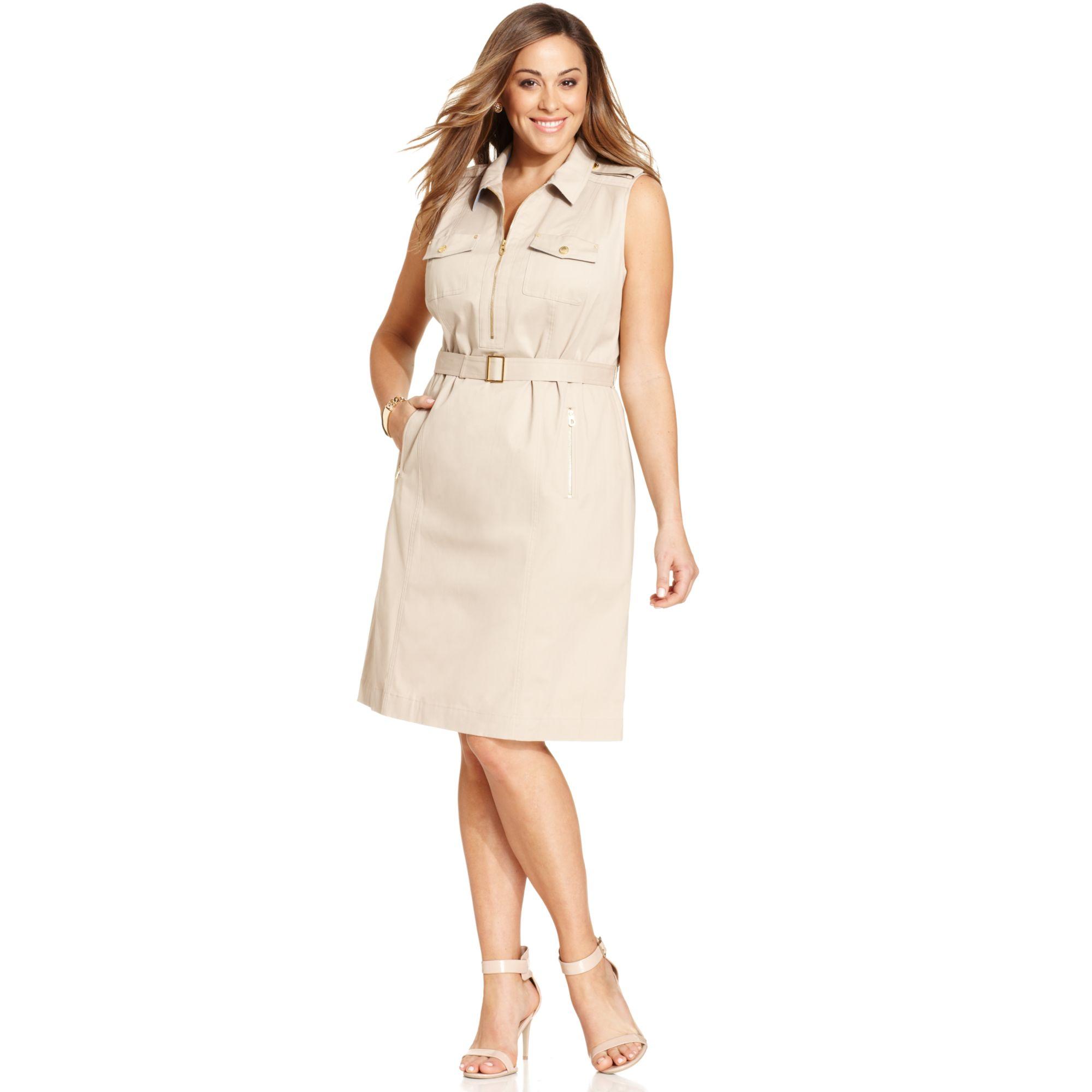 Jones New York Signature Plus Size Sleeveless Safari Dress in ...