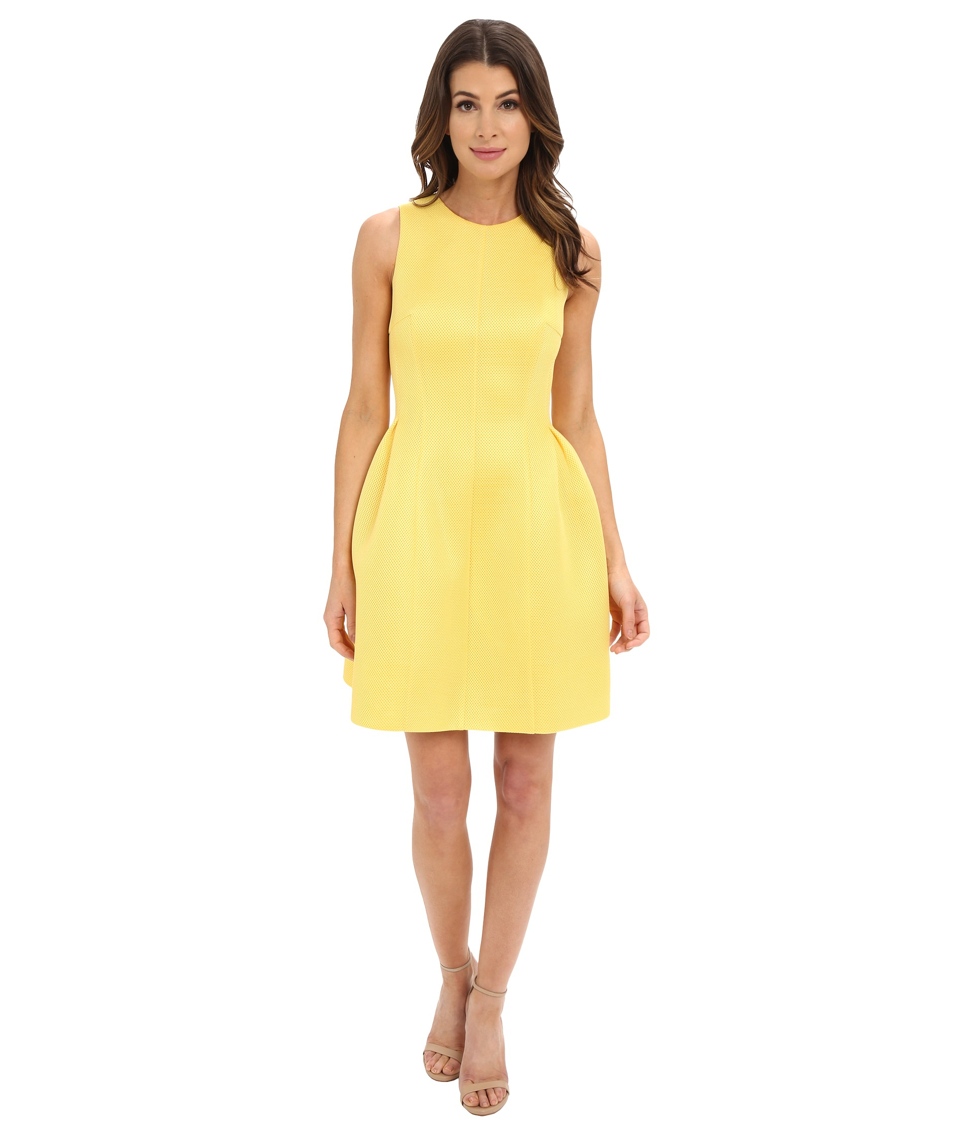 e1d49057b38 Calvin Klein Fit And Flair Dress Cd6m3110 in Yellow - Lyst