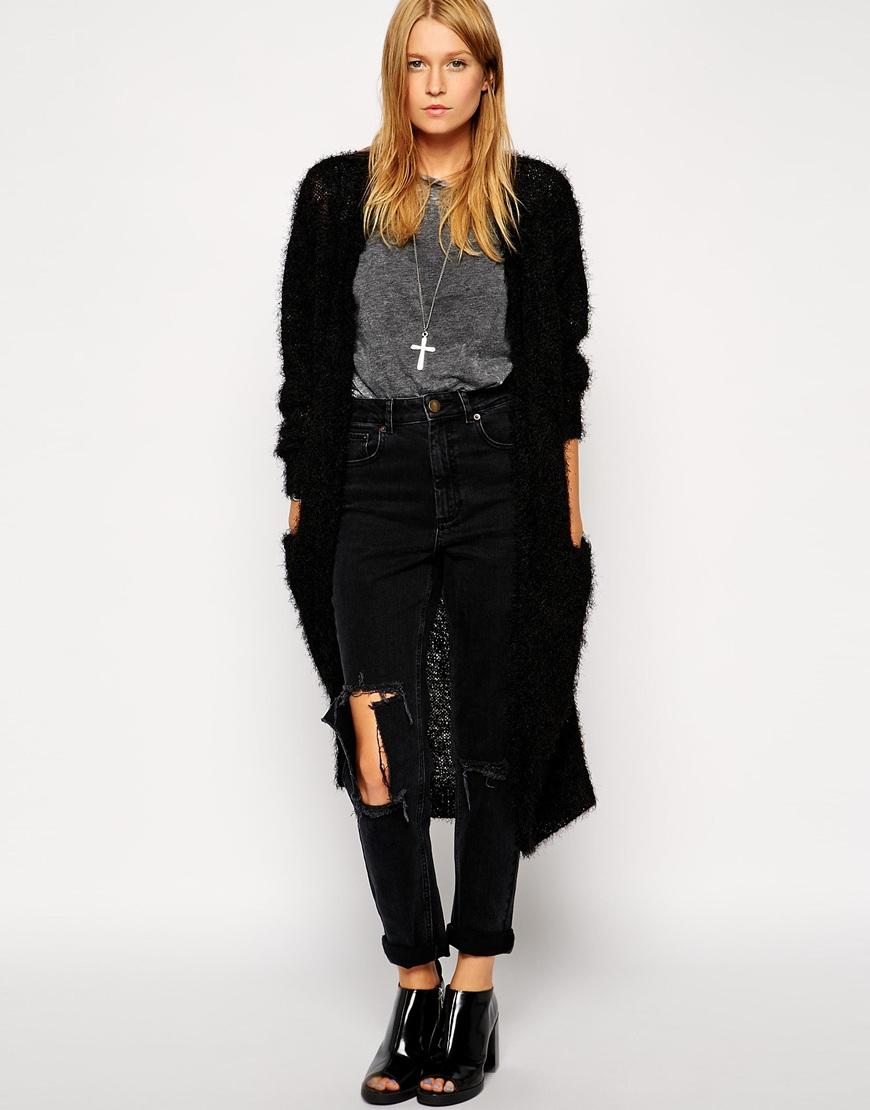 Asos Longline Cardigan In Fluffy Yarn in Black | Lyst