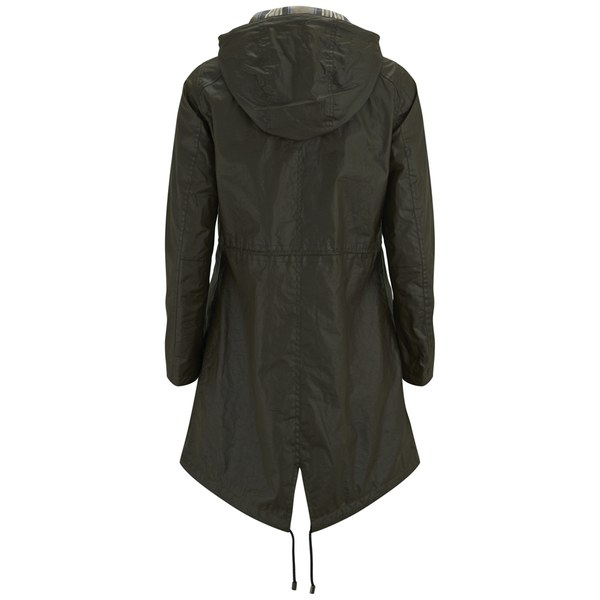 Belstaff Women&39s Payne Hooded Waxed Cotton Parka Jacket in Green
