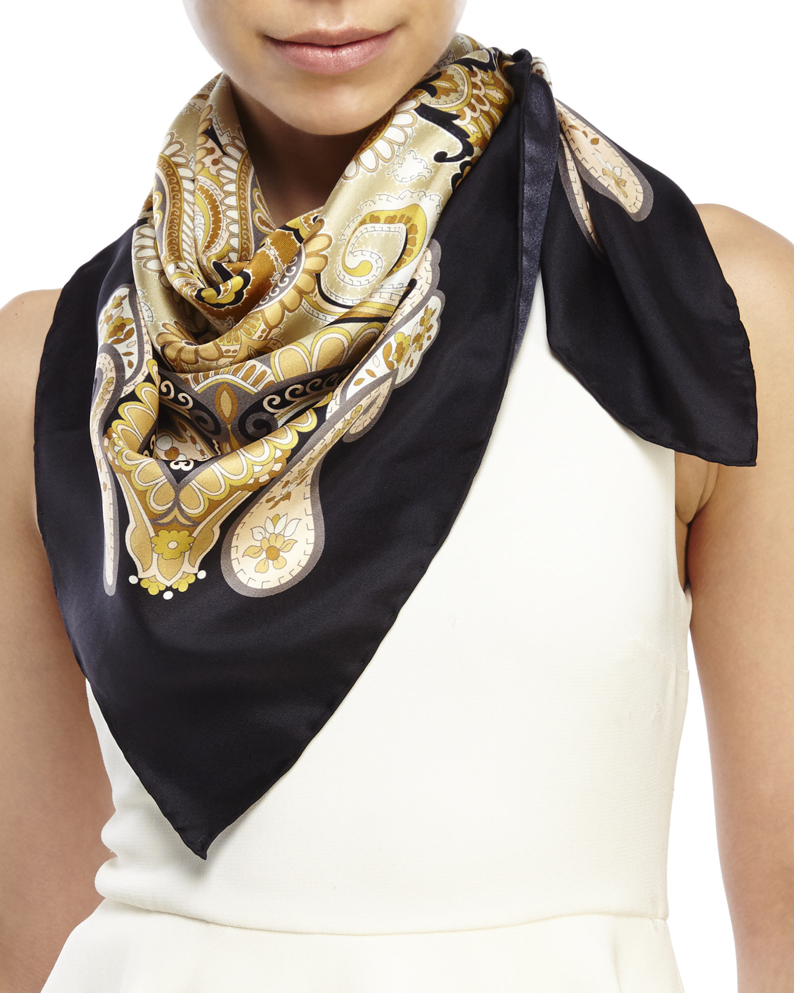 Pollini Square Silk Scarf in Black | Lyst
