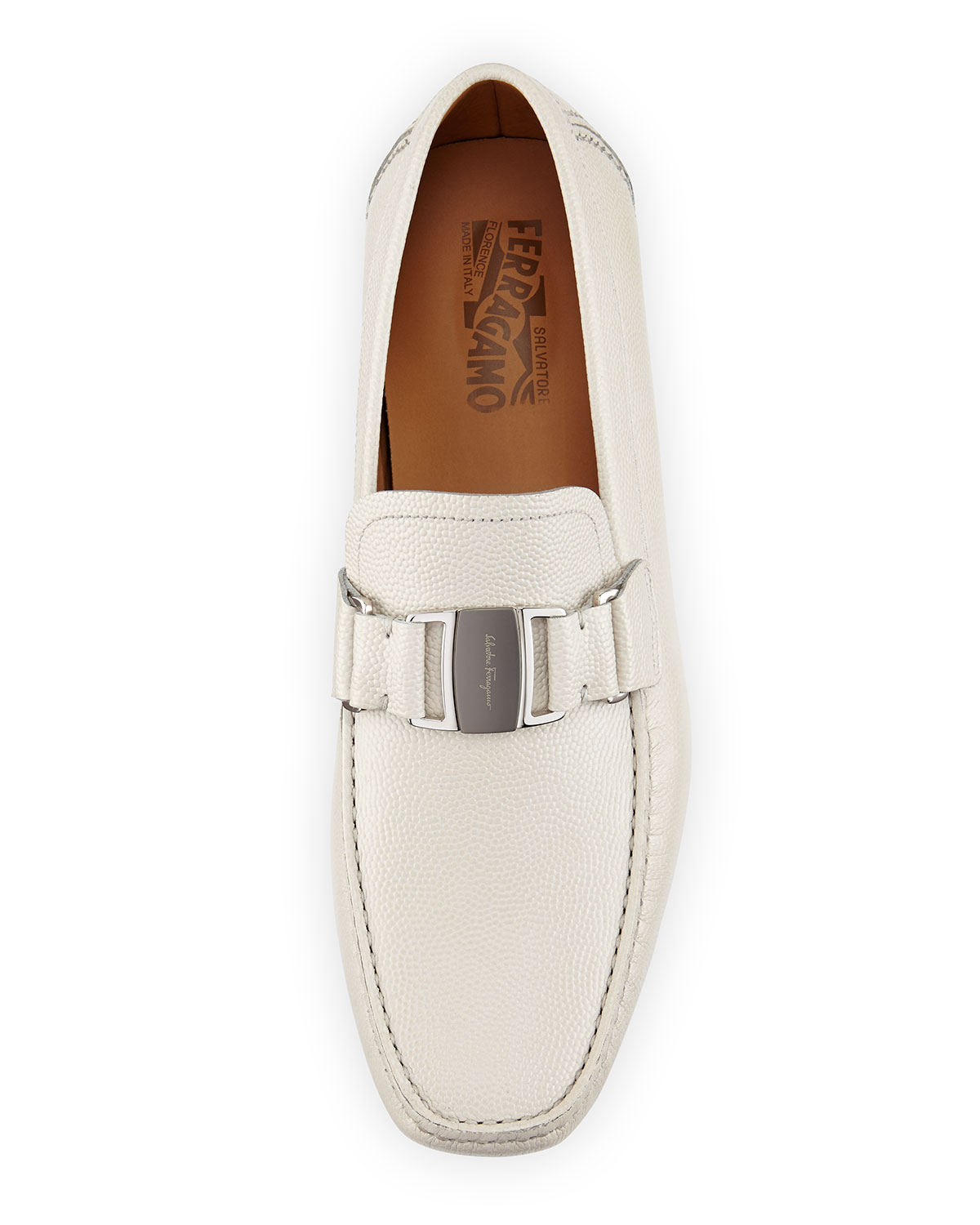White Ferragamo Driver Shoes
