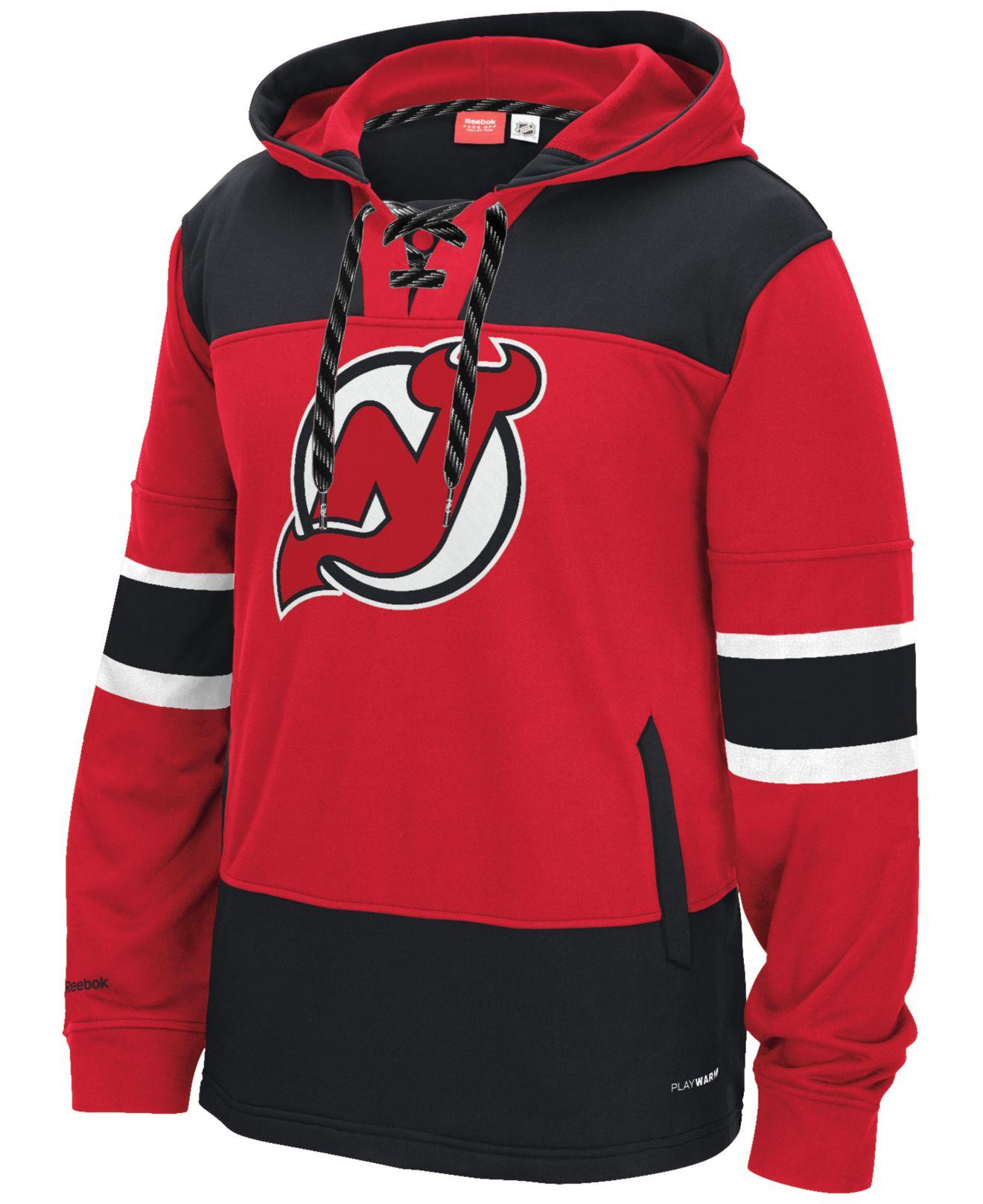 a4917db6f Lyst - Reebok Men s New Jersey Devils Jersey Hoodie in Red for Men