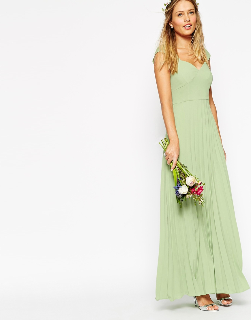 Lyst - Asos Wedding Maxi Dress With Pleated Skirt And Sweetheart ...