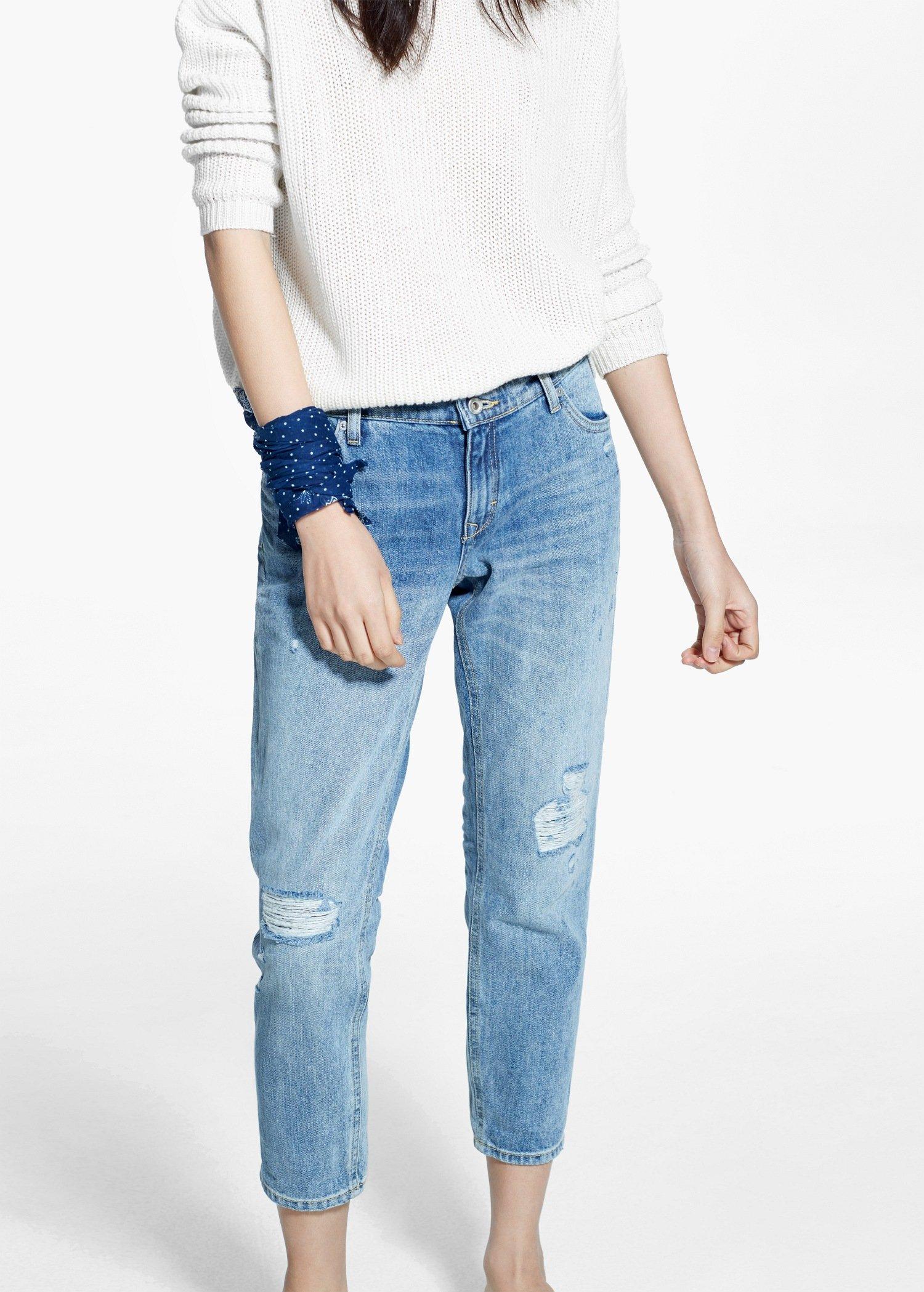 d95c617f4d Lyst - Mango Cropped Slim-Fit Nancy Jeans in Blue