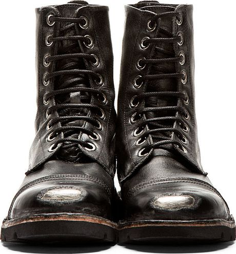 Diesel Black Worn Leather Steel Capped Combat Boots In
