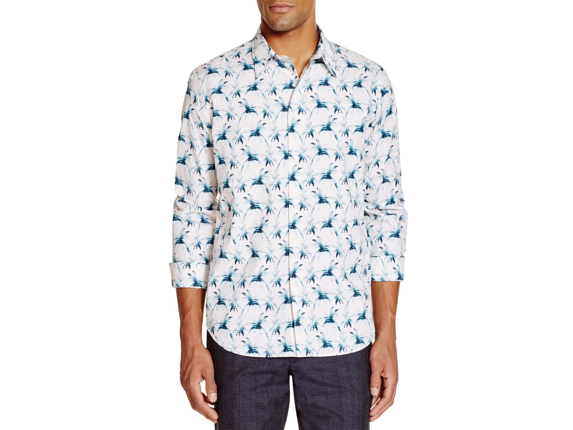 Ps by paul smith palm tree print slim fit button down for Slim fit white button down shirt