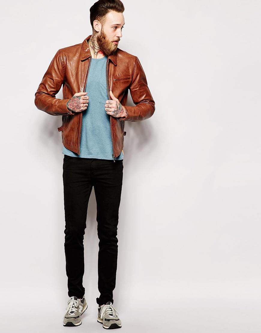 Nudie jeans Nudie Leather Jacket Dean Tan Biker in Brown for Men ...