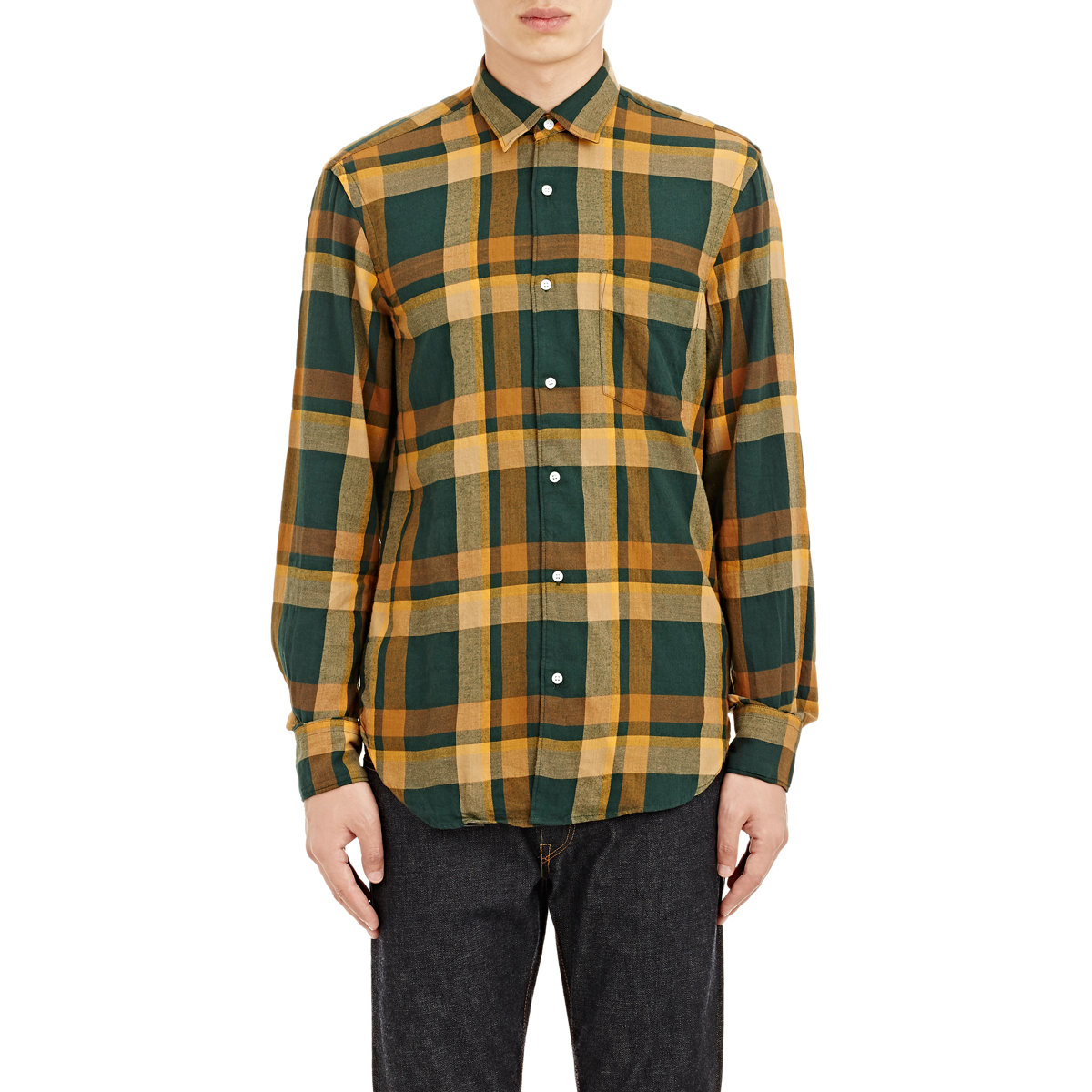 Lyst Aspesi Men 39 S Plaid Flannel Shirt In Green For Men