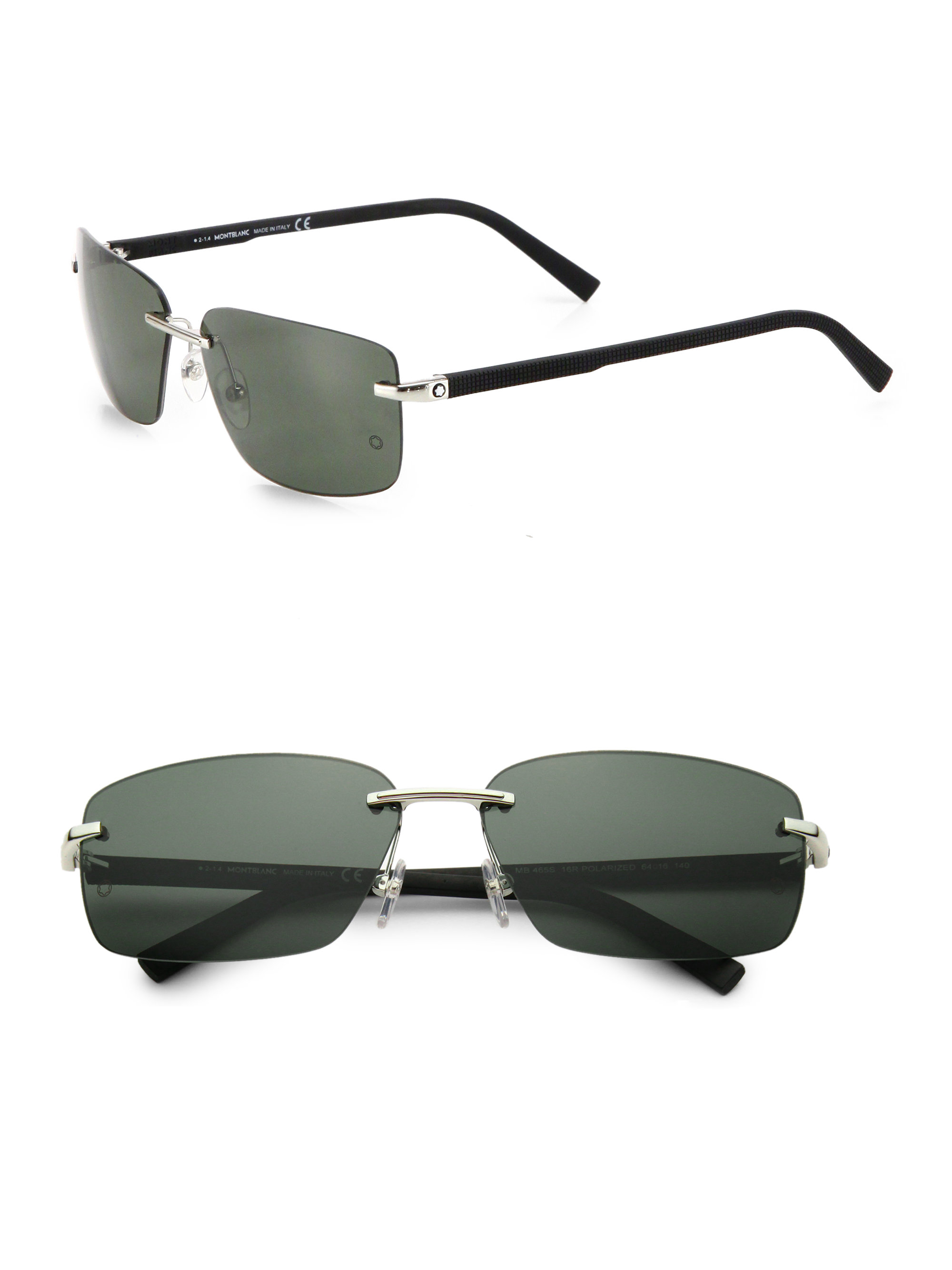 Rimless Rectangle Glasses : Montblanc 64mm Rimless Rectangle Sunglasses in Gray for ...
