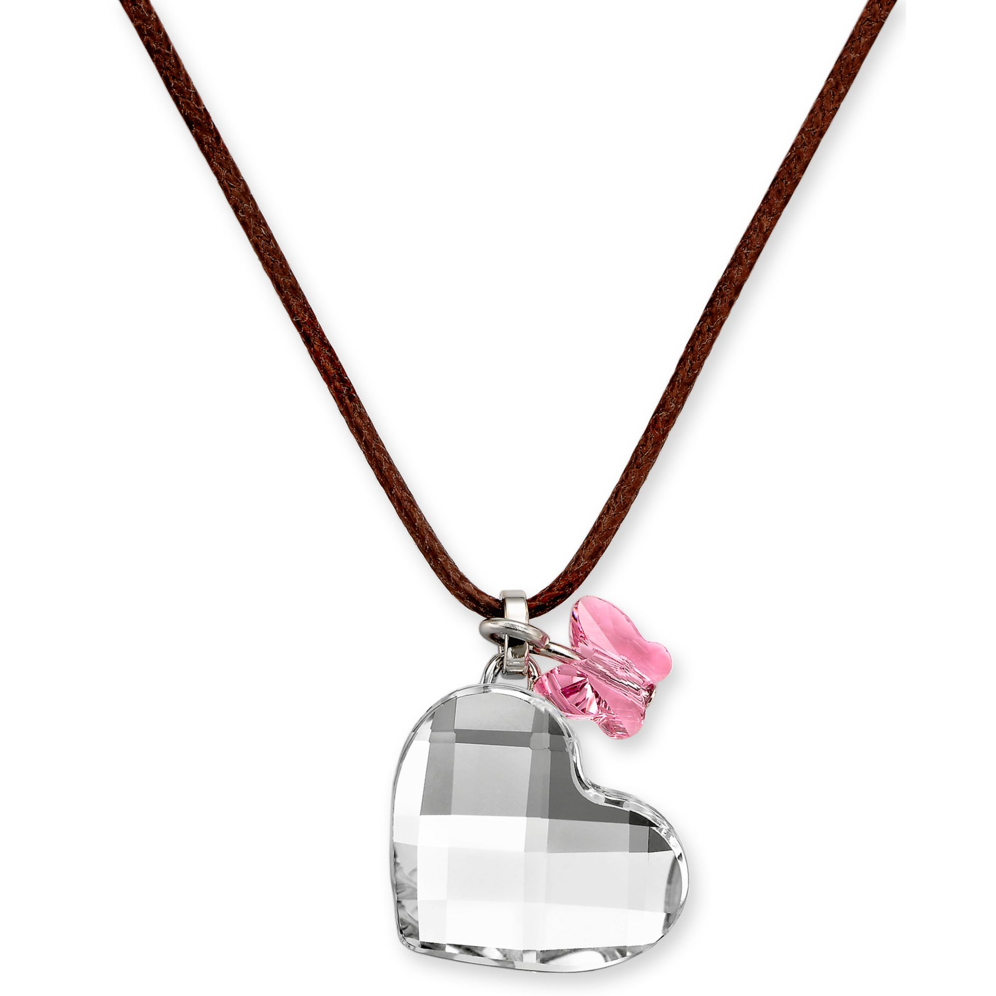 Lyst Swarovski Crystal Butterfly And Heart Pendant In Pink