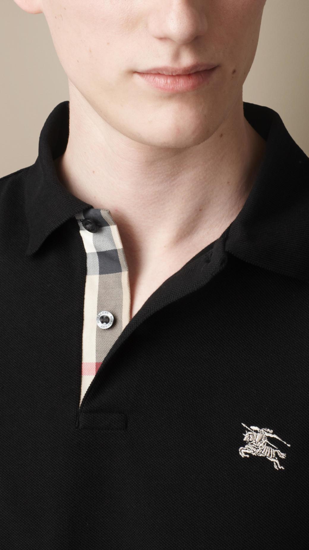 e2aa1b99da1da Lyst - Burberry Long Sleeve Polo Shirt in Black for Men