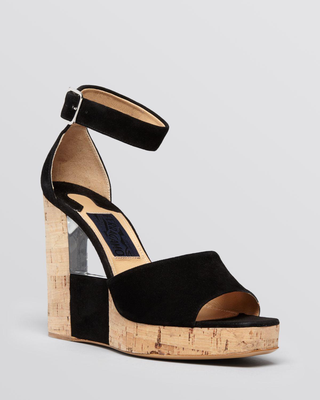 9650def34704 Lyst - Ferragamo Open Toe Platform Wedge Sandals Pert in Black