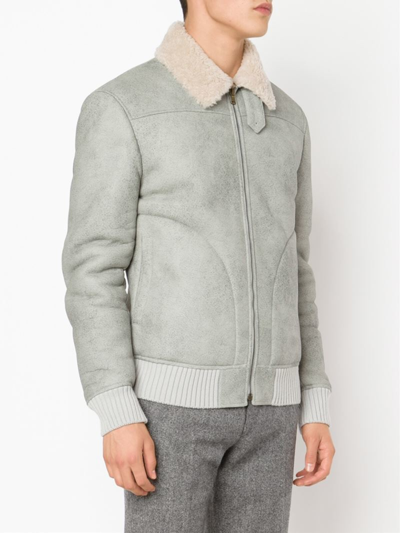 Tomas maier Shearling Bomber Jacket in Gray for Men | Lyst