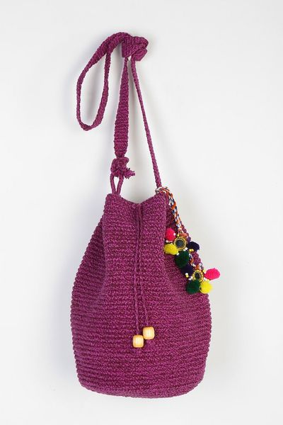 Crochet Bucket Bag : Stela 9 Crochet Beach Bucket Bag in Purple (RED) Lyst