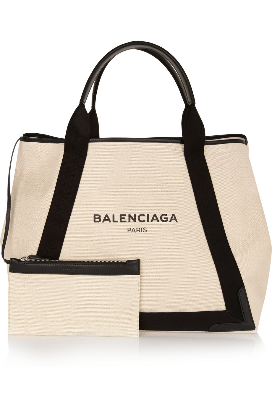 5e94ecd75ff2 Lyst - Balenciaga Cabas M Leather-Trimmed Canvas Tote in Natural